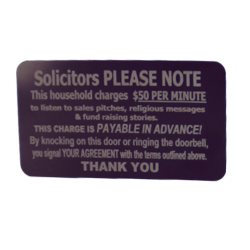 NO SOLICITORS Anodized Aluminum Laser Engraved Door / Doorbell Sign